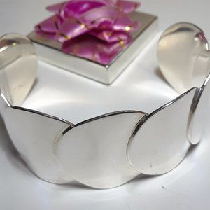 Vintage Overlapping Circle 925 Mexico Cuff B14375
